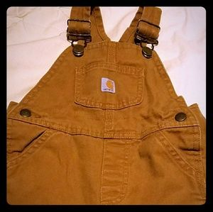 Carhartt Boys 18mths Tan overalls flannel lined EC